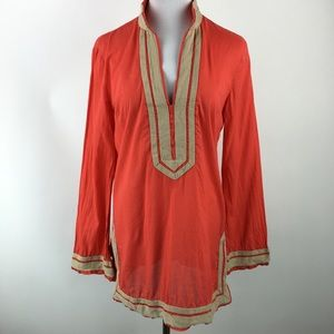 Tory Burch red and tan tunic top Sz 10